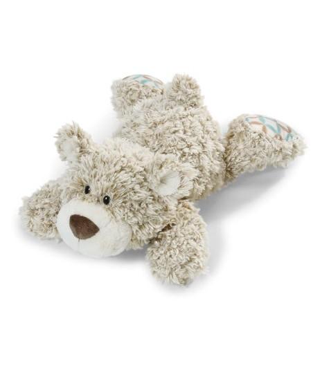 Peluche Nici ours gris et beige 30 cm couché