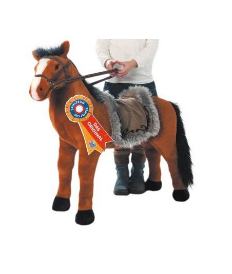 Peluche Cheval à monter marron clair