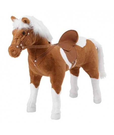 Peluche Cheval à monter marron et blanc